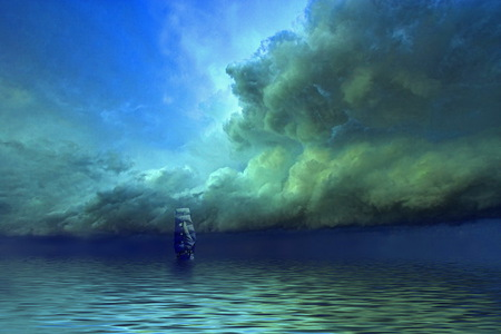 Outsailing the storm - ocean, darkening sky, clouds, storm, sailing ship