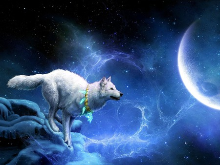 JUST A HOP,SKIP & JUMP AWAY...:-) - snow, fantasy, stars, white wolf, winter, moon, night, amulet