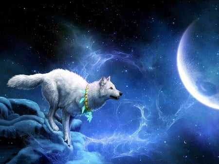 JUST A HOP,SKIP & JUMP AWAY...:-) - stars, fantasy, moon, snow, amulet, white wolf, night, winter