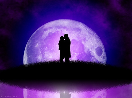 Under The Moon - love, romantic, isle, lilac sky, moon, dance, couple, kiss