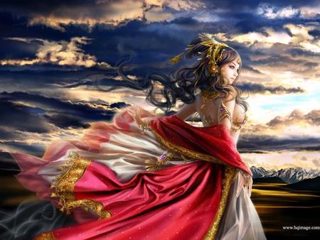Princess - colorful, red dress, golden, sky, woman, 3d, girl
