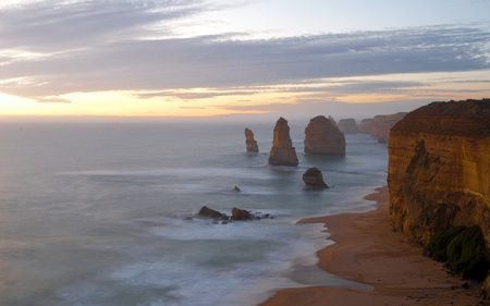 A View to Enjoy - sunset, rock, serene, cloudy, nature, formations, beaches, beautiful, cliffs