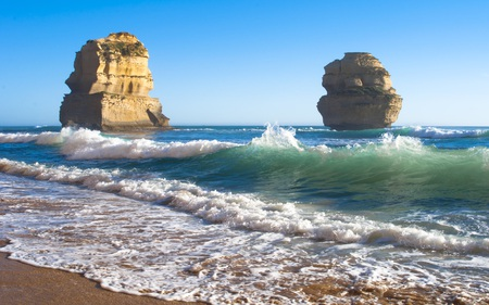The Other Two - waves, beaches, rock, formations, blue, beautiful, nature, skies