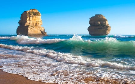 The Other Two - beautiful, skies, blue, rock, waves, nature, formations, beaches