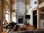 cabin livingroom with a fireplace