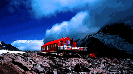Red hut - red, hut, new zealand, mt cook