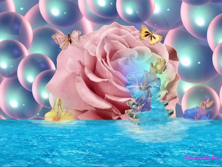 Fairy Falls - fantasy, fairy, rose, other, falls, bubbles, water