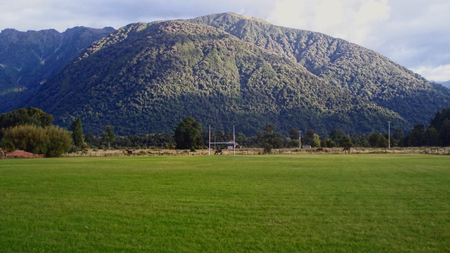 Rugby field - rugby, new zealand, moutain, green