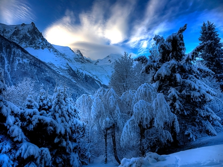 Beautiful Winter - amazing, lovely, view, beautiful, trees, sky, clouds, winter, snow, mountains, peaceful, beauty, nature, landscape, blue