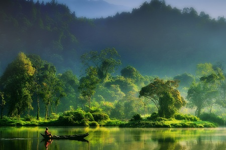 Painting of Nature - beauty, gorgeous, entrancing, stunning, green, neat, boat