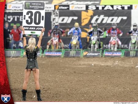 Pit girl - dirt, bikes, race, sign
