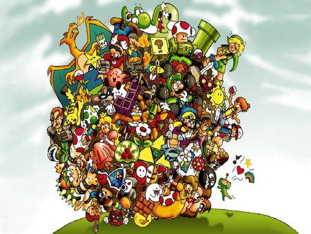 nintendo katamari - boo, nintendo, triforce, link, female, mario, dk, peach, toad, women, kirby, ball, pokemon, katamari, zelda, girl, pipe, pokeball