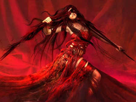 fantasy girl - art, long hair, 3d, hot, witch, fantasy, attractive, woman, hair, girl, abstract, red