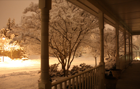Snowscape Porch @ Night - street lamp, brown, orange, home, yellow, bushes, neighborhood, cold, railing, road, light, night, snowscape, black, trees, winter, porch, snow, serene, snowfall, peaceful