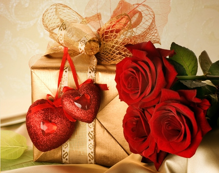 With Love - with love, pretty, box, valentine, ribbons, sweet, nice, love, flowers, beauty, valentines day, lovely, romance, ribbon, decoration, golden, hearts, gift, heart, presents, red roses, red, colorful, rose, bow, beautiful, still life, photography, friends, colors, romance romantic, roses, nature