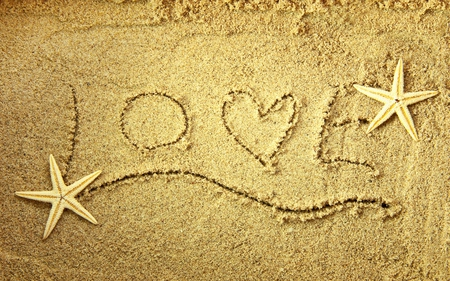 Love - lovely, beauty, love, sand, nice, letters, romance, pretty, beach, romantic, photography, starfishes, beautiful, with love, valentines day, nature