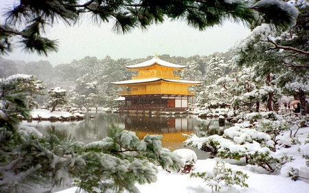 SNOW FRAME - temple, building, shrine, architecture, snow, world heritage, winter, japan, kyoto prefecture