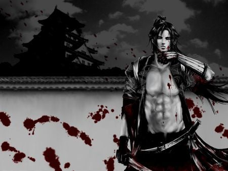 Hijikata Toshizo - black and white, samurai, anime, shrine, long hair, sword, black hair, male, kurogane, peacemaker kurogane, dark background, wall, silhouette, blood, warrior, grey background, lone, belt, hijikata toshizo, solo, muscles, abs