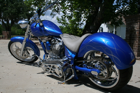 Blue, Cause The Payments Due! - motorcycles, harley davidson, choppers, bikes