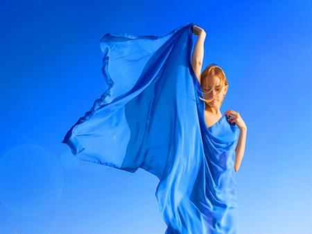 Sky - dress, woman, blue sky, wind, train of blue