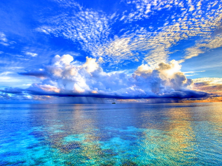 Clouds Over The Sea - heaven, sky, blue, sea, clouds