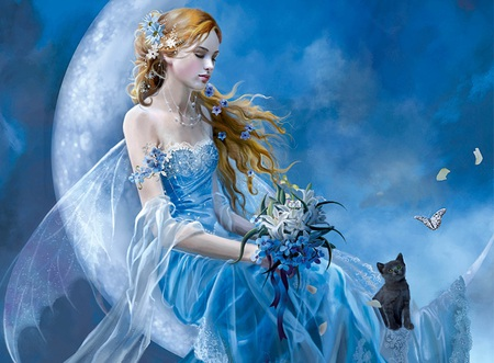 Girl and Cat - pretty, cg, fine art, beautiful, woman, fairie, women, fantasy, moon, flowers, girls, long hair, pink, fairy, blue, art, female, wings, black, cat, abstract, cute, 3d, girl, white