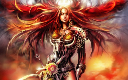 Red Sonja - female, video games, red hair, woman, weapons, fantasy, warrior, girl, red sonja, anime, lone, warrior girl, long hair, sword, armour