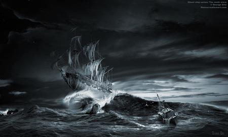 Ghost Ship - spooky, sails, ship, dark, waves, sea