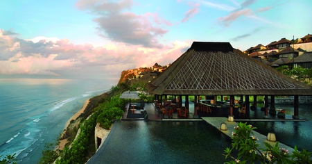 Bali - architecture, resort, colorful, house, cottage, beautiful, clouds, sea, beach, sand, chairs, flowers, beauty, cliff, plants mountains, umbrellas, veranda, hotel, lovely, view, fantastic, houses, ocean, colors, waves, sky, trees, pool, bali, water, restaurant, nature