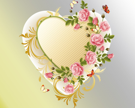 Flower heart - butterfly, colourful, heart, flowers, spring, roses