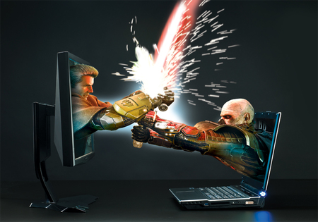 PC versus Laptop - battle, colorful, popular, 3d, lights, fantasy, laptop, abstract, pc