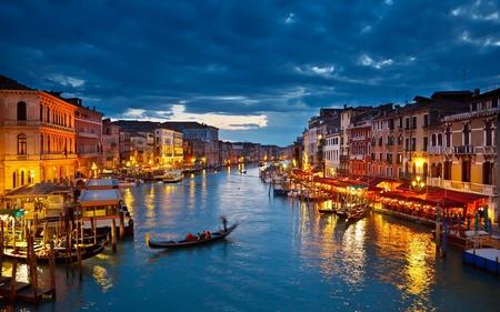 Venice,Italy - colorful, peaceful, romantic, boat, hdr, lights, italia, gondola, night, sea, venice, sky, colors, splendor, gondolas, boats, architecture, houses, reflection, beauty, beautiful, lovely, italy, city, clouds, romance, buildings, house, view