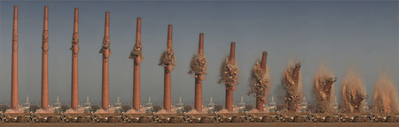 demolition - smokestack, collapse, demolition, timelapse