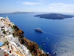 View of Caldera (island of Volcano and Aegean Sea) from Fira,Santorini.