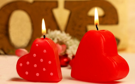 Candles - beauty, valentine, believe, lovely, love, table design, candles, miracle, entertainment, pretty, magnificent, heart shape, red, fashion, candle, beautiful, two candles, heart, feng shui, hearts, nice, romance, together, deep red, light, romantic, photography, you and i, atmosphere, forever, valentines day