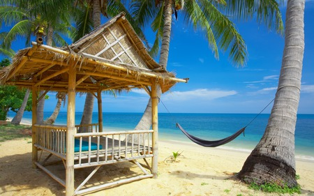 Lovely View - peaceful, sands, relax, resort, sun, bungalow, tropics, place, destination, sky, water, summer, hammock, cabinet, tropical, clouds, palm trees, leaves, ocean, palmtrees, tree, waves, horizons, gasebo, island, sea, palms, sunny, blue, colors, nice, sand, exotic, trees, nature, beauty, beautiful, lovely, blue sea, cancun, view, gazebo, beach
