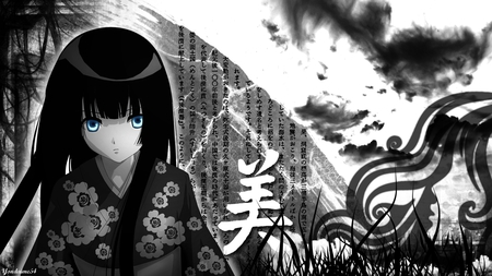 Le-vent-nous-portera - word, message, japan, anime, hot, anime girl, long hair, female, japanese, black, kimono, sexy, monochrome, cute, girl, blue eye, japanese clothes, traditional clothes, chinese, white