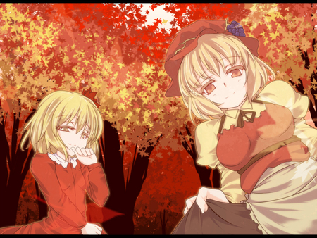 Aki Sisters  - red, aki minoriko, autumn, orange, sisters, beautiful, trees, cute, leaves, aki shizuha, anime, touhou, girls, aki