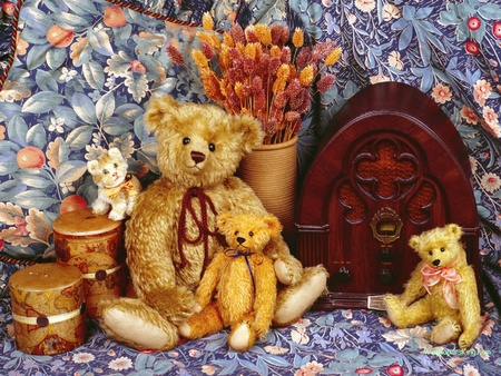 teddy tapestry - flowers, bears, blooms, stillife, kitten, radio, box