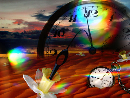 Fantasy watch - colorful, fantasy, watch, lights, abstract, flower, 3d