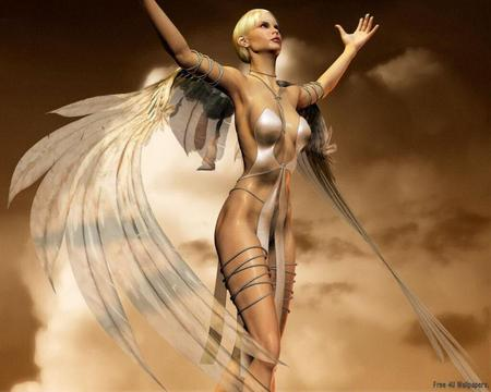Angelic woman - fantasy, wings, angel, woman, angelic