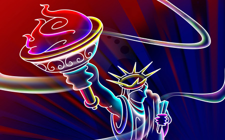 3D Neon Lady Liberty (WDS) - colorful, widescreen, 3d and cg, lady-liberty-, wds, beautiful, 3d, lady liberty, neon