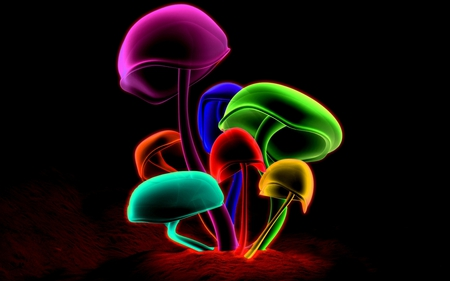 COLORFUL MUSHROOMS - bright, colorful, neon, mushrooms