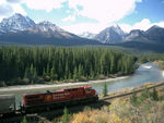 Train in Rocky Mountains