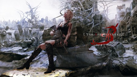 The 3rd Birthday - gun, blonde hair, the 3rd birthday, knee highs, ruins, parasite eve, aya, singlet, eve, 3rd birthday, rubble, boots, square enix, games, video games, girl, aya brea