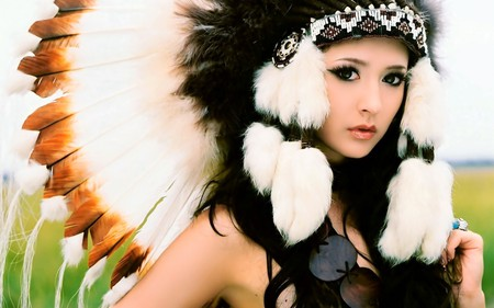 Indian Girl - photography, feathers, gorgeous, nice, indian, beautiful, lovely, model, girl, pretty, female