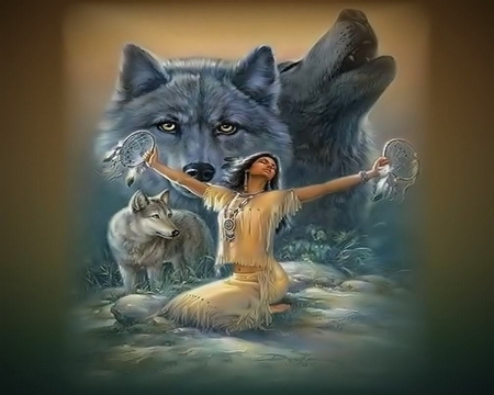 DANCE WITH WOLVES - girl, howling, wolves, dance, fantasy