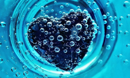 Sunk Heart - heart, love, water, blue, 3d, nice, fantasy, creation, abstract
