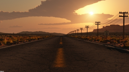 To home - sun, night, lost, dark, place, trip, highway, cars, driving, road, drem, walk, nature