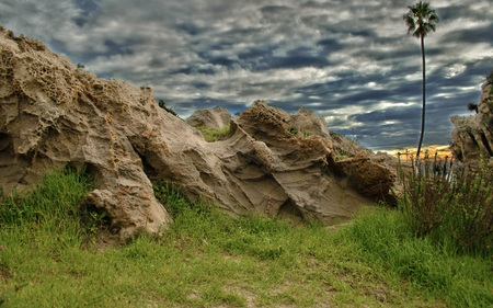 Rock Outcropping - outcropping, cloudy, beaches, rock, beautiful, overcast, palm, nature, tree